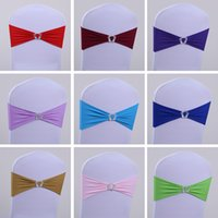 Wholesale Christmas Wedding Chair Sashes - Beautiful Elastic Material Bow Wedding Accessories For 18 Inches Chairs 23 Colors Lot Chair Cover Sashes Wedding Decorations In Two Sizes