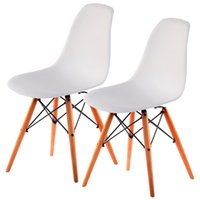Wholesale Modern Wood Dining Chairs - COSTWAY Set of 2 Mid Century Modern DSW Dining Side Chair Wood Legs White New