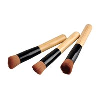 Wholesale Round Wood Handle - Universal Foundation Brush Makeup Brushes Powder Concealer Blush Pro Powder Flusher Makeup Brushes Wood Handle Round and Flat Head Soft Hair