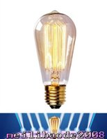 Wholesale Wholesale Squirrel Cage Bulb - Edison Bulbs Replacement Incandescent Bulbs Nostalgic E27 60W 220V Free Ship Squirrel Cage Filament ST58 FREE SHIPPING MYY