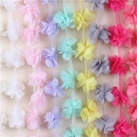 Wholesale Lace Mesh Bridal - 2016NEW 10Yards Flowers 3D Petals Chiffon Leaves Trim Wedding Dress Bridal Mesh Lace Fabric DIY Craft Clothes Hair Accessories