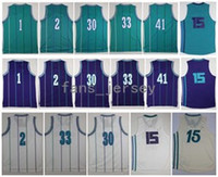 Retro hornetz # 1 BOGUES # 2 JOHNSON # 15 WALKER # 30 # 33 MOURNING # 41 RICE Purple White Light / Blue Jerseys Short with Player Name