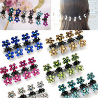 Wholesale New Hair Pins For Girls - Wholesale-Susan' 12 PC Crystal Flower Mini Claw Clamp Hair Clip Hair Pin NEW Barrette Hair Accessories for Baby Girl Lady