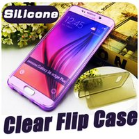 Wholesale Transparent Flip Cover Phone - For Samsung Galaxy S3 S4 S5 mini S6 Edge Plus Transparent Flip Case TPU Silicone Note 4 5 Phone Back Cover For iPhone6