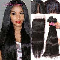 Raw Indian Hair Straight Weave 4 Bundles avec dentelle Fermeture Cheap Indian Bulk Extensions Straight Human Hair With Closure For Black Women