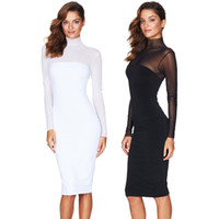 Wholesale Sexy Black Lace Turtleneck Dress - Fashion Women Bandage Dress Ladies' Mesh Dress Lace Long Sleeve Sexy Party Bodycon Women's Turtleneck Clubwear Midi Dress Black