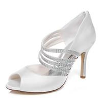 Wholesale Evening Sandal Stiletto - New 10 cm Ivory Color Elegant Nice Rhinestone Sandal Bridal Shoes Wedding Dress Shoes Handmade Shoes Evening Shoes Prom Party Shoes Size 42