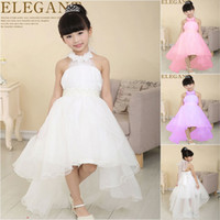 Wholesale Cute White Party Dresses - elegant baby girl cute asymmetric halterneck solid mesh long tail flower girl dress tutu wedding party backless trailing ball gown dress