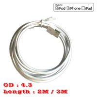 Wholesale Iphone 5s 3m Cable - High Quality 2m 6ft 3m 10ft Micro usb Cable data charger code line for iphone 5 5s 6 plus ipad white round data cable