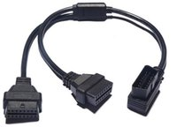 Wholesale Obd2 Y Connector - OBDII 1 to 2 ELM327 50cm 16pin Male To Dual Female Y Connector OBD2 16 pin Splitter ELM 327 Extension Cable
