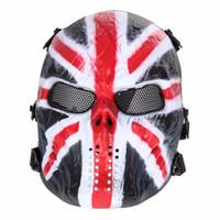 metal kafatası maskeleri toptan satış-Airsoft Paintball Parti Maskesi Kafatası Tam Yüz Maskesi Ordu Oyunları Açık Metal Mesh Göz Kalkanı Kostüm Cadılar Bayramı Partisi Malzemeleri için