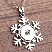 Wholesale Snowflake Buttons - Fashion snowflake Pendant Necklace Noosa Necklace Fit 18mm Snap Chunk Button With 925 Silver Snake Chain Necklace