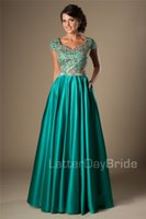 Wholesale Turquoise Silver Prom Dresses - Turquoise Gold Appliques Modest Prom Dresses With Cap Sleeves Long A-line Floor Length College Girls Classic Formal Evening Wear Party Gowns