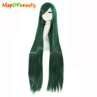 Mapofbeauty 100cm 40 Inch Dark Green Long Straight Cosplay Peruca Costume Party Mulheres Cabelo sintético Resistente ao calor Peruca