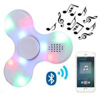 Wholesale Toy Phone Usb - Bluetooth Speaker Finger Fidget Music Spinner with luminous led lights Antistress Funny hand skinner toys for children Adult