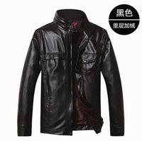 Wholesale Middle Age Mens Leather Jackets - Fall-#3431 Middle aged men Autumn winter 2016 Mens genuine leather jacket Fashion Fleece Jaqueta masculina Genuine leather coats