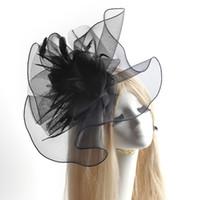 gelin kıl ağları toptan satış-Lady kadınlar parti siyah büyük netleştirme çiçek tüy örgü el yapımı saç tokası şapka gelin başlığı fascinator hediye