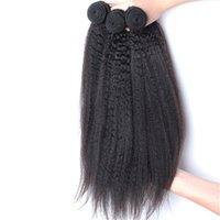 i̇talyan saç örgüsü toptan satış-9A Brezilyalı Bakire Saç Yaki Düz Örgü 3 Demetleri Kaba Yaki İnsan Saç Atkı İtalyan Yaki Brezilyalı Remy Kinky Düz Saç Döken Ücretsiz