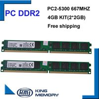 Wholesale Ddr2 Desktop 667mhz 2gb - DDR2 667Mhz 4GB KVR667D2N6 2G (Kit of 2,2X 2GB for Dual Channel) PC2-5300 Brand New DIMM Memory Ram For desktop computer