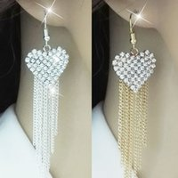 Mode féminine Cristal Coeur Forme Love Tassels Drop Long Chain Dangle Boucles d'oreilles Cute Jewelry