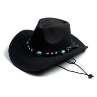 Wholesale cowboy cowgirl - Wholesale-Men Women Fashion DIY Felt Fedora Hat Western Cowboy Cowgirl Cap Jazz hat Sun Hat Toca Sombrero Cap with leather band 10