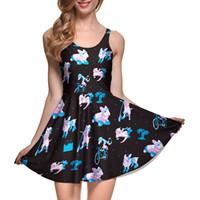 Wholesale Adult Skate Dress - NEW 1053 Sexy Girl Women Summer Cartoon Skating Cat polyester rabbit 3D Prints Reversible Sleeveless Skater Pleated Dress Plus size