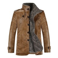 Wholesale Mandarin Collar Leather Jacket - Wholesale- 3 Color Hot New 2017 Winter Mens Fashion PU Leather Slim Fit Jacket Casual Thick Plush Lining Warm Coats L-3XL