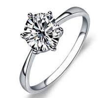 anillos de compromiso imitacion oro blanco al por mayor-18 k clásico chapado en oro blanco Multi color grandes anillos de diamante de imitación Top Design 6 dientes nupcial anillo de boda para las mujeres envío gratis