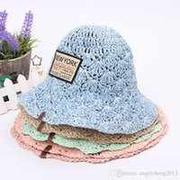 Wholesale Large Crochet Hat - Vintage Fashion Baby Summer Paper Straw Hat Beach Sun Protection Hats Large Brimmed Sweet Beach Sunscreen Straw Hat Caps YERAN-665