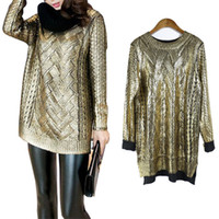 Wholesale Gold Double Neck - Women's Fashion Gold Sequin Knit Mesh Long Sleeve Sweater Top High Low Pullover Style Looose Sweatshirt
