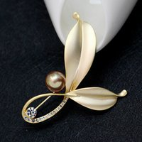 Wholesale Top Grade Bag China - Newly Vintage brooch top grade brooches gold pins leaves brooches fashion pins restoring pins western-style clothes Accessories 5pcs bag