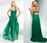 Wholesale Emerald Green One Shoulder Dress - 2016 Emerald Green Long Evening Dresses Women Open Back One-shoulder Beaded Pleated Chiffon Floor Length Sexy Prom Formal Gowns