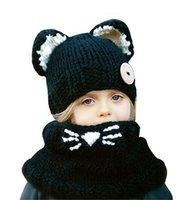 Wholesale Christmas Shawl For Girls - 2016 new Hot Winter Outdoor animal Knitting Wool Cat Soft warm Hats for Baby Girls Shawl Hooded Cowl Beanie Cap for 2-9years kids