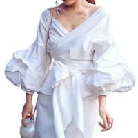 weiße puff ärmel bluse großhandel-4XL 3XL 2XL XL L M S Reizvolle Hauch-Hülsen-Bluse Blusas Weiße Hemden Frauen-Kimono-elegante Bluse plus Größen-Frauen-Blusen Bogen-Plaid-Frauen-Oberseiten
