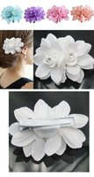 Wholesale Ladies Hair Accessories China - Fashion Womens flower Hair Clips Lady Girl Barrettes Hairpins Accessories Fabric Metal Wedding Birthday Party Gift