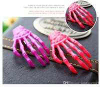 Wholesale Hands Hair Accessories - Newest Wholesale 20 pcs sets 2016 New Halloween Colorful Skull Hairpins Skeleton Hand Hair Clip Girl's Hair Accessories