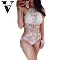 Wholesale Net Bathing Suits - 2016 sexy fish net knit crochet one piece swimsuit swimwear women bather bathing suit beach wear monokini maillot de bain V144