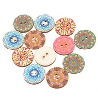 "Wholesale Craft Wood Buttons Bulk - 2 Holes National Wood Button 2.5cm(0.98"") For Crafts Decoration Collections Sewing In Bulk Buttons Random Mixed Pack Of 50pcs I391L"