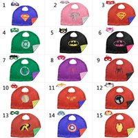 Wholesale Superhero Fabric Wholesale - L50*70cm baby kids Superhero capes cape with mask Double side Satin fabric Spiderman Ironman Super hero capes for kids Cosplay