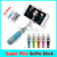 Wholesale Wire Weight - New Smallest Light weight Super Mini Extendable Audio Cable Wired Mobile Phone Stick Handheld Selfie Monopod for iphone 7 6 6s Galaxy S7
