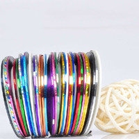 Wholesale Nail Art Sticker Mix Color - Hot 32 Color set Mixed Colors Rolls Striping Tape Line DIY Nail Art Tips beauty Decoration Sticker Nails Care Art Accessories