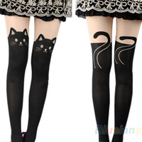 Wholesale Tattooed Tights - Wholesale-Sexy Women Cat Tail Gipsy Mock Knee High Hosiery Pantyhose Panty Hose Tattoo Tights Hot Selling 0JQ5 7R3H