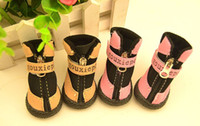 Wholesale Zipper Dog Boots - 2 Colors New Winter Warm Fashion Cheap Pet Puppy Skidproof Boot With Zipper Dog Shoes Rubber Sole Material For Small Medium Pets