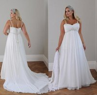 Wholesale Chiffon Empire Sweetheart Bling - 2016 Modest Wedding Dresses Plus Size Sexy Bling pearls Spaghetti Straps A Line Empire Backless Long Chiffon Country Maternity Bridal Gowns