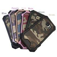 Wholesale Iphone Hard Case Pattern - Army Camouflage Pattern 2 in1 Armor Hard Phone Case For iPhone 6 6s 6Plus 7 7Plus Samsung S5 S6 S6Edge S7 S7Edge
