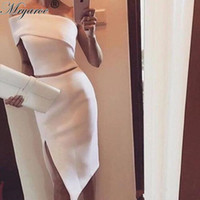online shopping Midi Satin Dress - Unique One Shoulder White Midi Two Piece cocktail Dress Women Stylish Slit Formal Events Outfits Short Mermaid Prom Formal Occasion Gowns