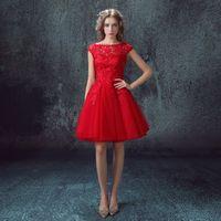 Wholesale Silver Short Wedding Dresses - 2016 Vestido De Noiva Elegant Scoop Tulle Lace A Line Short Sleeves Knee Length Red Plus Size Wedding Dresses Wedding Gowns