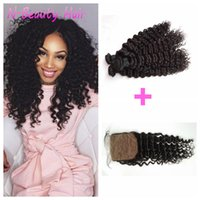 Wholesale human hair wefts deep waves for sale - Group buy 4x4 Silk Base Closure With Bundles Brazilian Deep Wave Human Hair Wefts Can Be Dyed G EASY Hair DHL FREE
