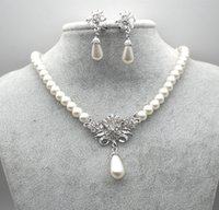 Wholesale Crystal Floral Necklace Set - Rhodium Silver Plated Cream Glass Pearl and Rhinestone Crystal Floral Bridal Necklace and Stud Earrings Jewelry Sets