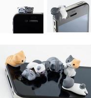 karikatür kulaklık toz takımı toptan satış-Yeni Gelmesi 3.5 MM Cep Telefonu Kulaklık Jack Için Sevimli Karikatür Kedi Modeli Toz Geçirmez Tak iPhone Android Akıllı Telefon